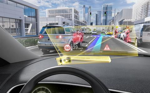 Head-Up Display von Continental Auomtotive: Virtuelle Projektion der Fahnbahnstrecke und des Tempolimits