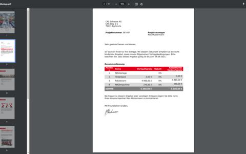M.Sales Oberfläche, CPQ as a Service, Dokumentengenerierung